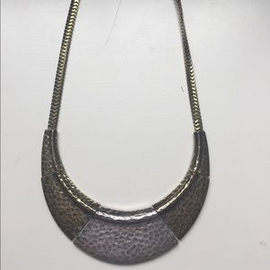 Mix it 2 Tone Gold Silver Hammered Metal Necklace